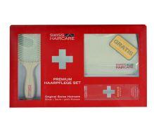 Swiss Haircare Premium kartáč na vlasy dárková sada W - plochý kartáč na vlasy Paddle Brush 1 ks + Bag 1 ks + šampón na barvené vlasy 200 ml