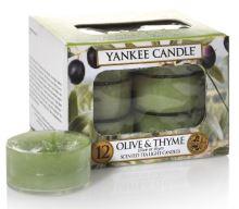 Yankee Candle čajové svíčky 12 x 9,8g Olive & Thyme